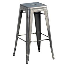 Set of <b>2</b> tolix <b>stackable</b> steel <b>bar stools</b> satin-finish varnished steel ...
