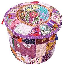 Stylo Culture Decorative Living Room <b>Pouf</b> Cover <b>Round Patchwork</b> ...