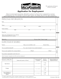 employment opportunities frugal fannie s employee application page 1
