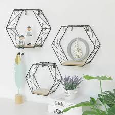 <b>Iron Hexagonal Grid Wall</b> Shelf Combination Hanging Geometric ...