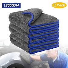 Tencoz <b>3Pcs Car Cleaning</b> Towel, 1200GSM Microfibre Drying ...