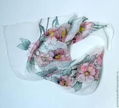 """Купить Батик платок """"<b>Ветка</b> шиповника"""" - розовый, цветочный ..."""