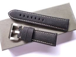 Bodhy 24/22mm Black <b>Canvas nylon</b> leather band with buckle-... for ...