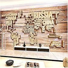 Hyf 3D Photo Wallpaper <b>Wall</b> Mural Retro Wood <b>Simple World Map</b> ...
