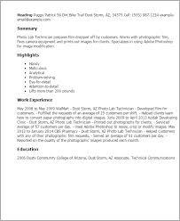 professional photo lab technician templates to showcase your    resume templates  photo lab technician