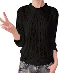 Women Long Sleeve <b>Lace</b> Patchwork Blouse Slim Fits <b>Sexy Autumn</b> ...