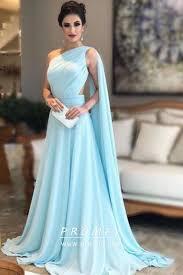 Grecian Style Light Blue <b>One Shoulder Floor Length</b> A-line | Prom ...