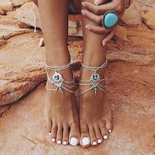 <b>Boho</b> Turquoise Barefoot Sandal <b>Beach</b> Anklet Foot Chain <b>Jewelry</b> ...