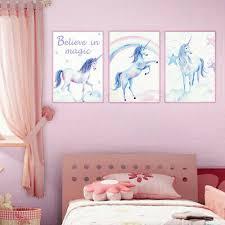 <b>3pcs</b> A4 Watercolor Animal Poster Print <b>Unicorn</b> Rainbow <b>Cartoon</b> ...