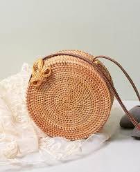 Vintage <b>Handmade Rattan</b> woven Round Shoulder <b>Bag</b> in 2019 ...