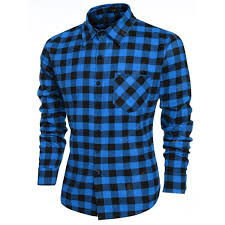 Fashion Mens <b>Casual Leisure</b> Grid Long Sleeve Lapel Shirts Sale ...