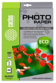 <b>Фотобумага Cactus CS-GA620050E 10x15</b>/200г/м2/50л./белый ...