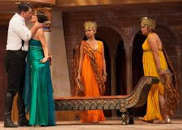Shad Willingham and Cynthia Beckert as Antony and Cleopatra with Dekyi Ronge (Charmian)and Natasha Buran (Iras) - kingsmen-antony_cleopatra1