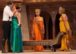 Shad Willingham and Cynthia Beckert as Antony and Cleopatra with Dekyi Ronge (Charmian)and Natasha Buran (Iras) - kingsmen-antony_cleopatra1