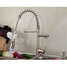 pull kitchen faucet color: contemporary single handle nickel brushed pull out spray led kitchen faucet with  color changing fasnf