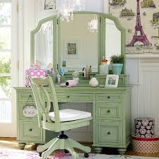 image of green color vanity table with lights best lighting for makeup vanity