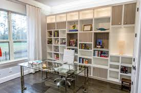 home office wall unit mid sized minimalist study room photo in los angeles with white walls avenue greene grey ladder storage office wall