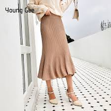<b>Young Gee</b> 2019 Elegant Autumn Winter <b>Knit</b> Skirts <b>Women</b> Sweater ...