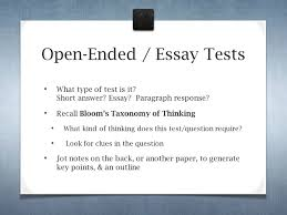 preparing for tests from to from a to z success ppt open ended essay tests what type of test is it short answer