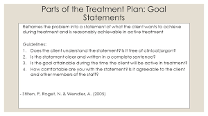 treatment planning essentials skill building for clinicians week parts of the treatment plan goal statements reframes the problem into a statement of what