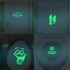 1PC <b>Bathroom Luminous Toilet</b> Fluorescent Wall Removable Sticker ...