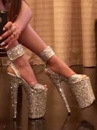 pole dancer shoes stripper heels <b>custom</b> made silver glitter 9 inch ...
