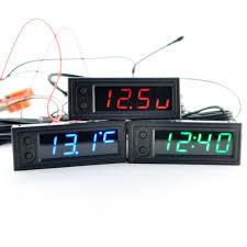Three In One Car Clock Luminous <b>Thermometer</b> Voltmeter High ...