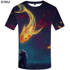 <b>KYKU</b> Cat <b>T</b> Shirt Women Galaxy Tshirt Space <b>3d</b> Print <b>T</b>-shirt <b>Fish</b> ...