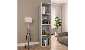 <b>Book Cabinet/TV Cabinet</b> Concrete Grey 36x30x143 cm Chipboard ...
