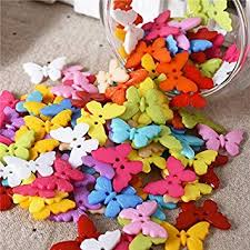 Jo's <b>100 Pcs</b> Plastic <b>Mixed Color Butterfly</b> Style Sewing Buttons ...