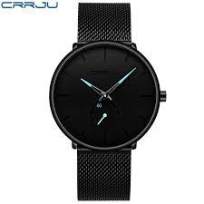 <b>CRRJU Mens Watches</b> Top Brand Luxury Black Quartz Men Watch ...