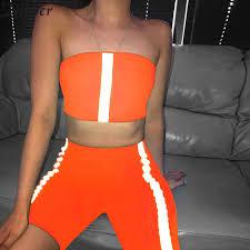 Nibber <b>neon Reflective stripes</b> Sportswear top shorts women 2two ...