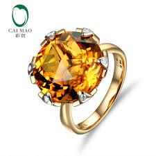 Caimao Jewelry 14K Yellow Gold 11.3CT Flawless <b>Round</b> Citrine ...