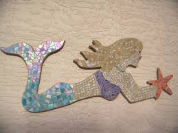 mosaic wall decor: mosaic mermaid wall art beach home decor
