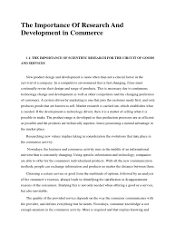 the importance of research and development in commerce