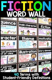best ideas about word wall displays pe bulletin fiction word wall posters or flashcards 40 reading fiction vocabulary terms