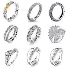 <b>9 Style</b> 1Pcs Women <b>925 Sterling</b> Silver Rings Jewelry Wing Flower ...