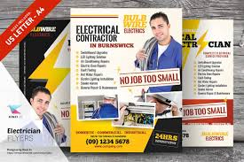 electrician flyer templates flyer templates on creative market