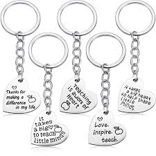 5 Pieces Teacher Gift Key Ring Heart Shaped Charm ... - Amazon.com