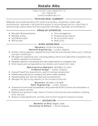 secretary resume example classic professional summary example of professional summary for resume