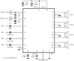 tda7381 4 x 25w quad audio amplifier schematic design tda7383 4 x 35w quad bridge amplifier