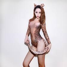 <b>New</b> Female Singer DS Performance Costume <b>Sexy Leopard Print</b> ...