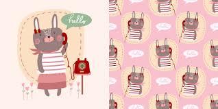 <b>Cute cartoon</b> vector hello <b>little bunny</b> rabbit girl with telephone ...