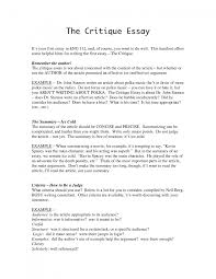 sample of evaluation essay cover letter gallery of how to write a critique essay example