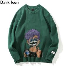 2019 <b>Dark Icon</b> Printing Ripped Men'S Sweater <b>Round Neck</b> ...