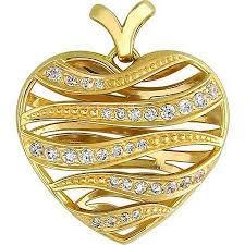 <b>Подвеска Сердце с фианитами</b> из желтого золота - Каталог ...