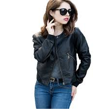 <b>Female</b> Cheap <b>Leather</b> Jacket Spring Autumn <b>Long Sleeved</b> Black ...