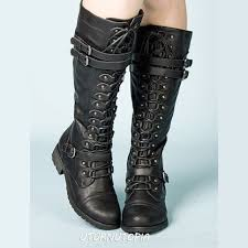 Knee High <b>Combat</b> Steampunk Boots <b>Military</b> Grunge Women's sold ...