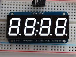Adafruit <b>0.56 4</b>-<b>digit 7</b>-<b>segment</b> Display W/i2c Backpack Green ...