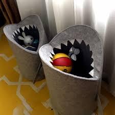 Nordic Style <b>Felt Cloth</b> Folding Laundry Basket Shark Design ...